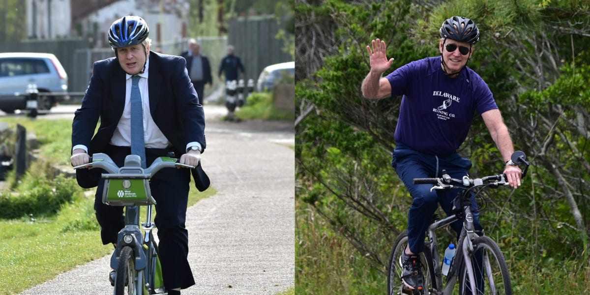 UK biden johnson cycling bicycle