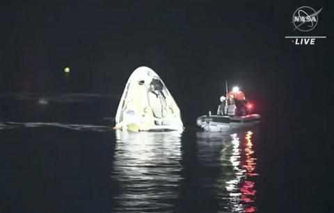 astronauts splashdown spacex earth rare