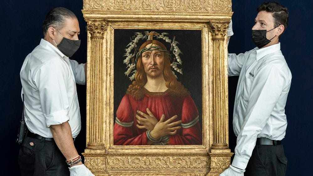 botticelli, painting, hands, auction, sorrows,