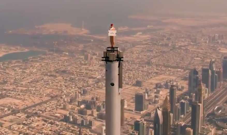 emirates, burj, khalifa, stunt, celebration,