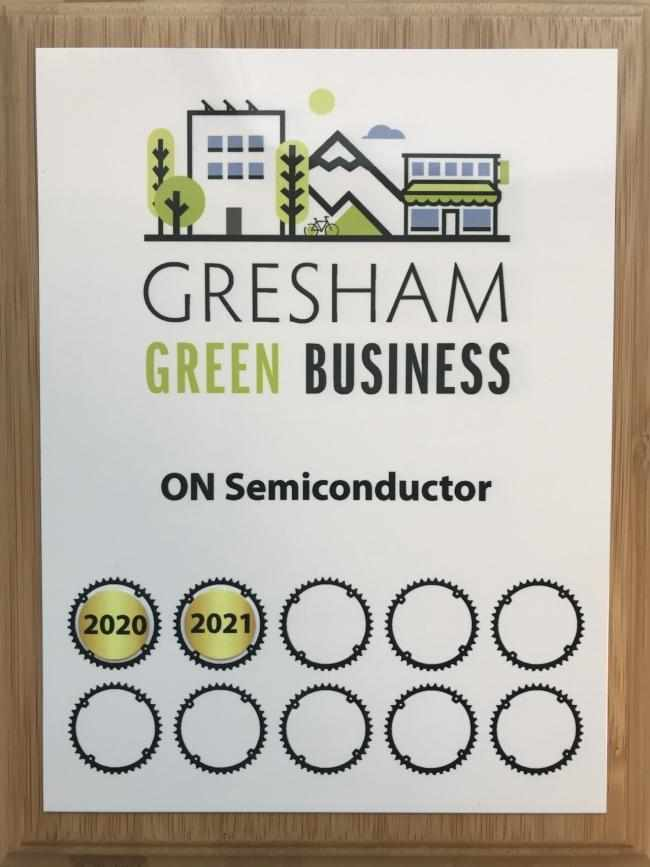 gresham, onsemi, business, green, award,